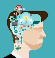 empresário de brainstorming cria ideias na cabeça