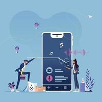 conceito de transmissão de podcast, entrevista pública moderna e reportagem online com áudio vetor