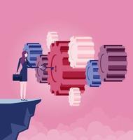empresária segurando a chave para alcançar o sucesso - vetor de conceito de negócio