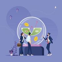 empresários olhando para dinheiro na bola de cristal, procurando previsão de mercado - conceito financeiro de negócios