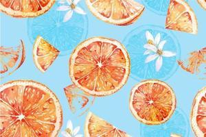 aquarela sem costura padrão de tangerinas vetor