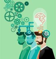 homem de negócios e vetor de engrenagens cerebrais em andamento