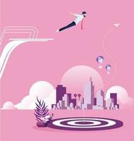 empresário mergulha de trampolim em direção a um alvo para atingir seu objetivo vetor