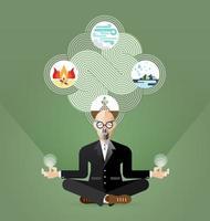 vetor de meditação do velho empresário ioga e zen