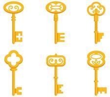 conjunto de chaves vintage. vetor