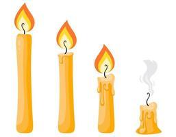 conjunto de velas de cera. vetor