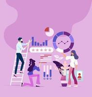 processo de trabalho em equipe e conceito de pesquisa de marketing vetor