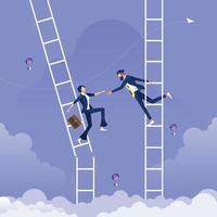 empresário dando a mão para ajudar outra empresária que está na escada quebrada - conceito de ajuda e suporte vetor
