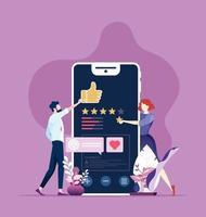 revisão online, feedback, classificação com conceito de dispositivo móvel.