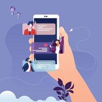 conceito de vetor de notificações de mensagens de bate-papo no smartphone