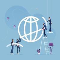 equipe de negócios ajuda a construir o conceito de economia global de sign-business global vetor