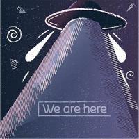 poster vintage alienígena com textura grunge e uma nave espacial. vetor