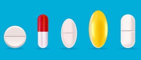 conjunto de comprimidos médicos. vetor