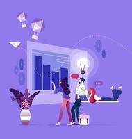 equipe de negócios pensando em inicialização e brainstorming vetor