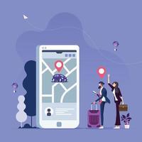 pedido online de carro de táxi, serviço de aluguel e compartilhamento de transporte em aplicativo móvel vetor