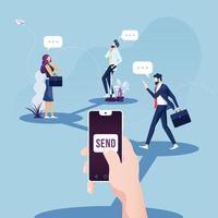 conceito de marketing de rede social e negócios digitais no conceito de celular