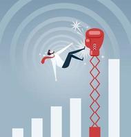 empresário sendo atingido por uma grande luva de boxe e caindo do gráfico de taxa de crescimento - vetor de conceito de negócio