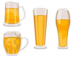 conjunto de copos de cerveja e canecas. vetor