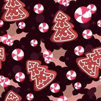 ilustração de padrão sem emenda com visco e folhas, biscoitos e doces vetor