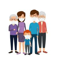 membros da família usando máscara facial