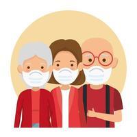 membros da família usando ícones de máscara facial vetor