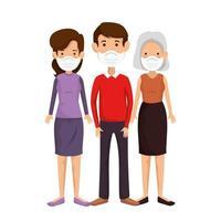 membros da família usando máscara facial vetor
