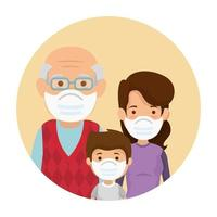 mãe com avô e filho usando máscara facial em moldura circular vetor