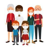 grupo de membros da família usando máscara facial vetor