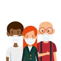 família de membros usando ícone de máscara facial vetor