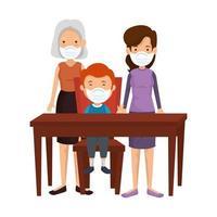 mãe com avó e filho usando máscara facial em mesa de madeira vetor