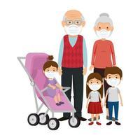 avós com crianças usando máscara facial vetor
