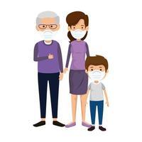 mãe com avô e filho usando máscara facial vetor