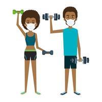 casal usando máscara facial praticando exercícios