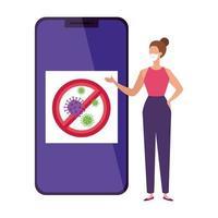campanha da parada covid 19 em smartphone com mulher vetor