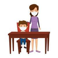 mãe com filho usando máscara facial em mesa de madeira vetor