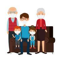 família fofa usando máscara facial com sofá vetor