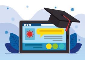 graduação em educação online com tablet vetor