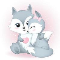 casal raposa e coração vetor