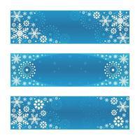 Conjunto de flocos de neve gradiente prateado com fundo azul