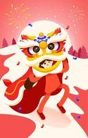 uma garota jogando a dança do leão no ano novo chinês vetor