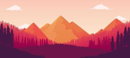bela paisagem de floresta de pinheiros com vistas fascinantes da montanha vetor