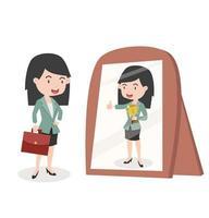 mulher de negócios parecendo bem-sucedida em frente ao espelho vetor