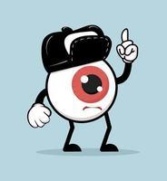 mascote de desenho de globo ocular vermelho vetor