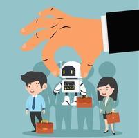 mão escolhendo um robô para negócios de inteligência artificial