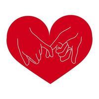 gesto de promessa mindinho com o coração vetor