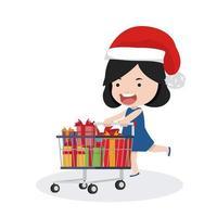menina com um carrinho de compras e chapéu de Papai Noel vetor
