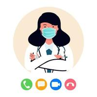 médico online feminino vetor de telemedicina plana