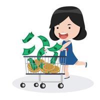 menina com um carrinho de compras e dinheiro vetor