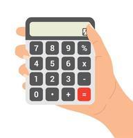 mão segurando um vetor de calculadora
