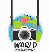 pendurar câmera vintage com dia mundial da fotografia